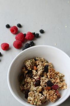 This simple healthy granola is not only full of yummy, healthy things to eat - it's so easy to make that my three year old can make it!