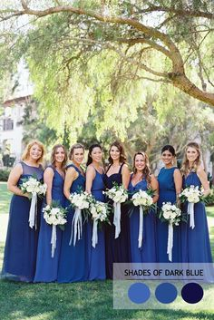 Shades of dark blue Mix and Match Bridesmaid Dresses by Colours | http://www.fabmood.com/mix-and-match-bridesmaid-dresses-by-colours #bridesmaids #blue
