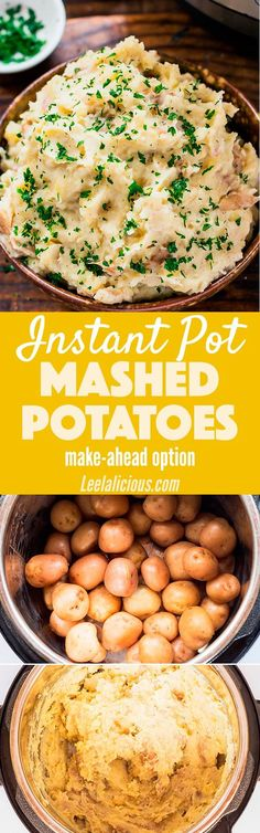 How to make Restaurant-Style Instant Pot Mashed Potatoes for a perfect side dish for the holidays. Thanks to the keep warm function they can even be made ahead. Pressure Cooking | Roasted Garlic | Dinner | Recipe