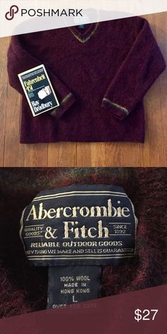 Vintage Abercrombie Wool Sweater In Great Condition/ 100% Wool/ Abercrombie & Fitch Sweaters V-Necks