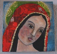 The beautiful Virgin Mary painted on wooden cradled canvas.