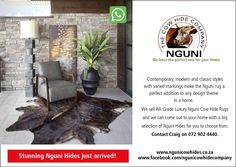 Good day All. Nguni Cow Hide Company sells Luxury Nguni Cow Hide rugs. We have a great selection for you to choose from and our service is to come out to your home for you to choose the best Nguni Hide for your space. Please call or whatsapp Craig on 729024440 and please also do visit our Facebook page at www.facebook.com/ngunicowhidecompany  #Nguni #NguniCowHides #NguniSkins #ZuluHides #AfricanGameskin #NguniCapeTown #CowSkins #CowSkinRugs #CowSkinCarpet Hide Rugs, Cow Hide Rug, Cow Skin Rug, Contemporary, Modern, Are You The One, Classic Style, Facebook, Space
