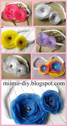 Hair band for each mother and daughter, headbands for babies and children with tiulowymi flowers, toque, hair wreath,