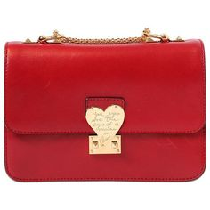 VALENTINO L'amour Polished Leather Shoulder Bag featuring polyvore fashion bags handbags shoulder bags purses bolsos borse red valentino red leather purse genuine leather handbags heart purse red purse leather shoulder handbags