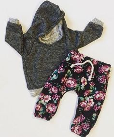 Newborn-Baby-Girls-Grey-Hooded-Tops-Long-Floral-Pants-2Pcs-Outfits-Set-Clothes