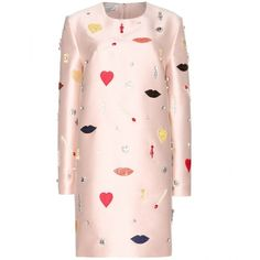 Stella McCartney Aubin Embellished Sateen-Twill Dress (34 850 UAH) ❤ liked on Polyvore featuring dresses, rosette dress, stella mccartney, stella mccartney dresses, pink embellished dress and twill dress