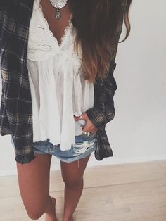 White lace shirt from forever 21, flannel from aero, and ripped jean shorts from American eagle