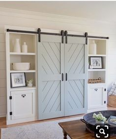 How to build double DIY barn doors for a barn door entertainment center DIY, a great way to hide the TV. This DIY barn door is a perfect wall feature too! furniture entertainment center DIY Double Barn Door - Angela Marie Made Double Barn Doors, Double Closet Doors, The Doors, Sliding Doors, Design Seeds, Diy Entertainment Center, Interior Barn Doors, Closet Barn Doors, Bedroom Barn Door