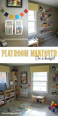 Playroom Makeover on a Budget by www.masonjarsandfireflies.com