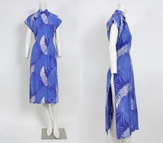 50s Dress // Malihini Blue Hawaiian Print Asian Cheongsam Dress. $198.00, via Etsy.