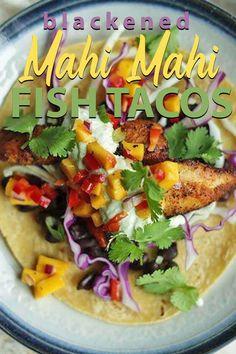 Blackened Mahi Mahi Fish Tacos - these delicious tacos are loaded up with fresh blackened mahi mahi, red cabbage, mango salsa, cotija cheese and a avocado crema on a corn tortilla. Mahi Mahi Fish Tacos, Grilled Mahi Mahi, Blackened Fish Tacos, Grilled Fish Tacos, Grilled Salmon, Mango Salsa Fish Tacos, Pineapple Salsa, Fish Recipes, Seafood Recipes