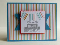 Happy Birthday / / Stampin' Up: Everyday Occasions Cardmaking Kit, Sweet Sorbet DSP (retired), Banner Punch (retired)