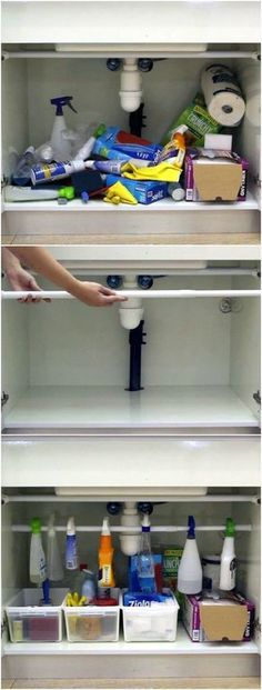 Haus ideen – If you have a mess under your kitchen sink cabinet, there's no need to fret! I… – Ideen Dekorieren Apartment Kitchen, Apartment Living, Apartment Ideas, Living Rooms, Apartment Entryway, Bedroom Apartment, Apartment Chic, Small Apartment Hacks, Living Spaces