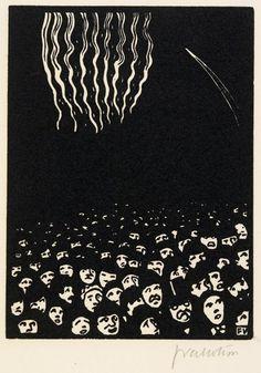 Félix Vallotton, Fireworks (1901), woodcut on paper