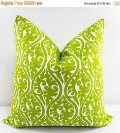 SALE Green Pillow Cover. Chartreuse Pillow Cover. Kimono