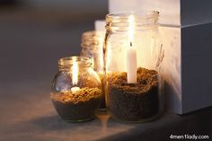 Glass jar lanterns.
