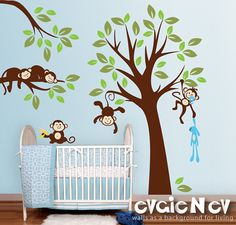 Children Wall Decal Wall Sticker tree decal - Jungle Wall Decals Set - INSTANT SHIPPING - PLMG020L op Etsy, 110,78 €