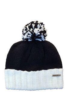 Michael Kors Womens Winter Knit Pom Hat Black cream  1a64e7f15edd