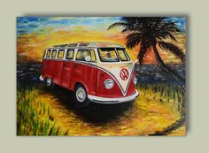Original oil painting, Volkswagen bus, oil on canvas, VW red bus, sunset feeling, palm, sand, sunset and sea, Landscape by KrisztinARTDesign on Etsy