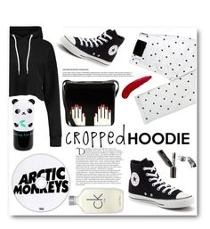 """""""Raffy"""" by ragelove ❤ liked on Polyvore featuring Pegleg Nyc, Tony Moly, Converse, Lulu Guinness, Bobbi Brown Cosmetics, TheBalm, Balmain, Calvin Klein and CroppedHoodie"""