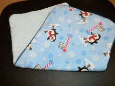 Baby Boy Burp ClothBlue Winter Penguins by DirtyRags on Etsy