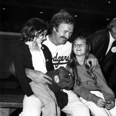 Gene Hackman With Daughters Elizabeth and Leslie at a Celebrity Baseball Game in Hollywood in the Early 1970s