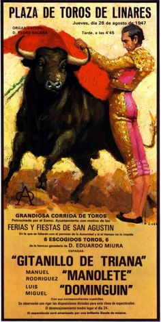 Corrida announcing two ot the most famous Matadors in history, Manolete and Luis Miguel Dominguin. Films Western, Brave Animals, Westerns, Spanish Art, Vintage Travel Posters, Literature, Illustration Art, Culture, Hacienda Homes