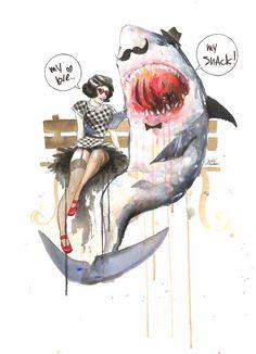 Mr. Shark by Lora Zombie #gelaskins #art