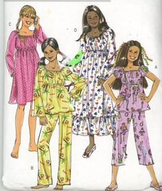 Butterick B4913 Girls Top Pants and Gown  Boho Easy Sew - UNCUT SZ 12-14-16 Free USA Shipping