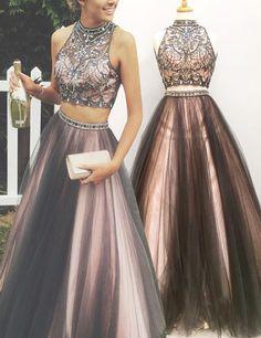 Two-Piece High Neck Floor-Length Rhinestone Grey Prom Dress with Beading
