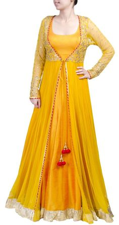 This sheer jacket long anarkali is featuring in a mango yellow floor length raw silk. It comes along with net sheer jacket with gota work detailing. Long Anarkali, Anarkali Dress, Lehenga Choli, Anarkali Suits, Anarkali Bridal, Indian Designer Outfits, Indian Outfits, Designer Dresses, Indian Gowns Dresses