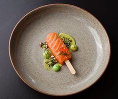 | Salmon Lolly-Pop  Cured With Citrus And Star Anis  Avocado Purée  Wasabi Aioli  Salmon Keta Puffed With Wild Rice  Wasabi Pea Granola  Dill | By @piersdawson  #seafood #seafoodplatter #shrimp #shrimpgourmet #prawn #foodart #foodpresentation #michelin #michelinstar #topchef #gastroart #theartofplating #tastingmenu #instachef #gourmet #gourmetfood #finedining #gourmetrestaurants #gourmetstars #gourmetfoodstars #Sushi #Sushigourmet by simplistic_food