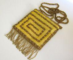 Boho fringed silk beaded evening bag