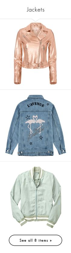 """""""Jackets"""" by accidentallytwinning on Polyvore featuring denim, pastel, bomberjacket, outerwear, jackets, coats & jackets, coats, leather jacket, metallic and red moto jacket"""