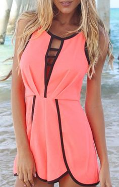 Chest Hollow-out Round Neck Sleeveless Beach Jumpsuit