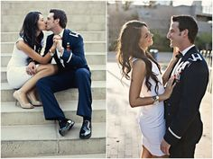These two are so sweet! City chic engagement shoot (a model + a man in uniform) by Visionyard Photography