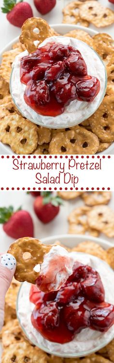 Pretzel Salad Dip Strawberry Pretzel Salad Dip - turn a no-bake summer dessert recipe into an easy appetizer dip!Strawberry Pretzel Salad Dip - turn a no-bake summer dessert recipe into an easy appetizer dip! Dessert Dips, Köstliche Desserts, Dessert Pizza, Sweet Desserts, Appetizer Dips, Appetizer Recipes, Party Appetizers, Pretzel Recipes, Party Dips