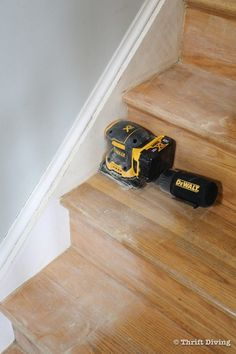 How to Install a Stair Runner - Use a sheet sander with 150-grit sandpaper to sand your stairs before priming and painting them. - Thrift Diving Staircase Runner, Stairs And Staircase, Wooden Staircases, Carpet Stairs, Staircase Design, Stairway, Spiral Staircases, House Stairs, Stair Runners