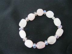 Rose Quartz gem stone and crystal stretch by MDJewelCraft on Etsy, $8.00