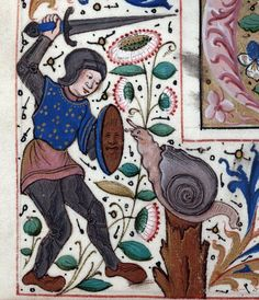 snailfight  Institutes of Justinian, France 15th century (Montpellier, Bibliothèque interuniversitaire. Section Médecine, H 418, fol. 107v)