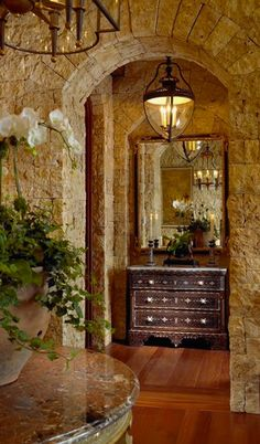 If you are having difficulty making a decision about a home decorating theme, tuscan style is a great home decorating idea. Many homeowners are attracted to the tuscan style because it combines sub… Tuscan Style Homes, Tuscan House, Room Ideias, Style Toscan, Stone Archway, Interior And Exterior, Interior Design, Stone Interior, Italian Home