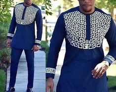 Mens african wear with embroidery, embroidered mens african clothing, mens native wear, mens kaftan, African Male Suits, African Clothing For Men, African Wear, African Style, Traditional African Clothing, Men African Shirts, African Dress For Men, Men Shirts, African Fashion Designers