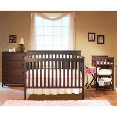 Sorelle Petite Paradise 4-in-1 Crib, Changing Table with Hamper and 4-Drawer Dresser, Cherry