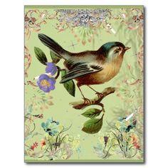 Oiseau vert vintage et rubans élégants roses carte postale