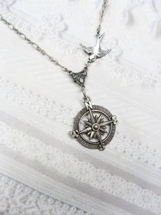 Silver Compass Necklace - Silver Guidance - Steampunk Jewelry by BirdzNbeez - List of the most beautiful jewelry Cute Jewelry, Jewelry Box, Silver Jewelry, Jewelry Accessories, Jewelry Necklaces, Jewelry Making, Gold Jewellery, Jewellery Shops, Silver Earrings