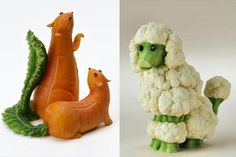 How cute are these animal sculptures that are made from fruits and vegetables! Vegetable Animals, Fruit Animals, Veggie Art, Vegetable Carving, Food Platters, Eating Raw, Food Crafts, Cute Food, Funny Food