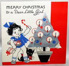 Little Girl Black Kitty Cat Silver Tree 1940 s Vintage Christmas Greeting Card | eBay