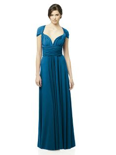 The convertible dress! Change the wrap to change the look.  Available in cocktail length or full length, your bridesmaid dresses can match or each can create her own style.    Constructed in luxurious, hand washable matte jersey (dress is un-lined)