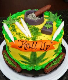 "Another request for the ""Roll Up"" cake. Please remember I am an artist. No negative comments please. They will not be tolerated. ""Roll Up"" Birthday Cake, Marble Cake with Vanilla Buttercream and Fondant Accents"