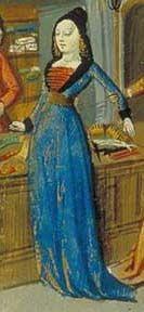 """Entrelazado rojo en el cuello de la vestimenta muy bajo y ancho. Imagen obtenida de Orose's """"Faits et choses du monde"""" (boutique du mercier)"""